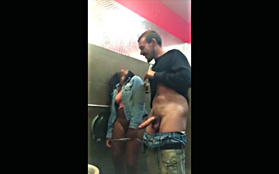 2 drunks enter the public bathroom to fuck
